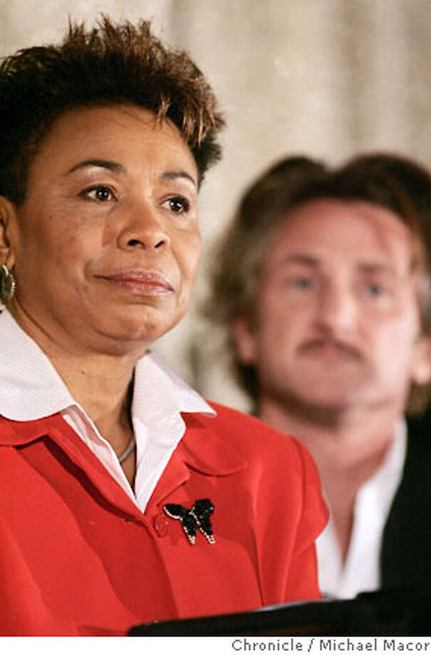 Rep. Barbara Lee and actor, Sean Penn part of the discussion panel. Rep. Barbara Lee, D. Oakland, and actor Sean Penn lead a town hall meeting in Oakland to discuss how the United States can withdraw from Iraq immediately. Meeting hosted by the Grand Lake Theater, a bastion of progressive politics even for Oakland. Photographed in, Oakland, Ca, on 3/24/07. Photo by: Michael Macor/ The Chronicle Photo: Michael Macor