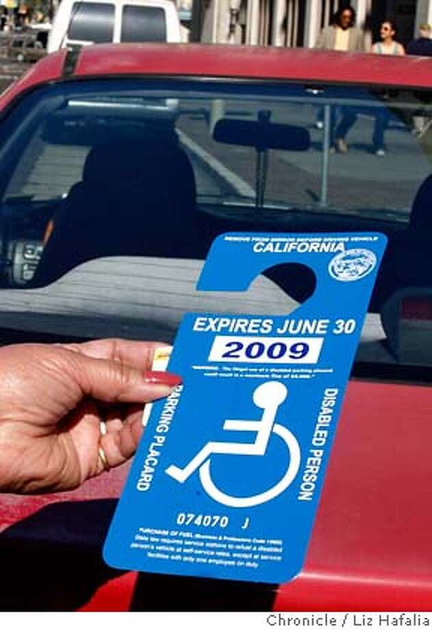 JPG Eufrencia Lactaoeu72 years old shows her disabled placard while parked  sc 1 st  SFGate : vehicle door placard - pezcame.com