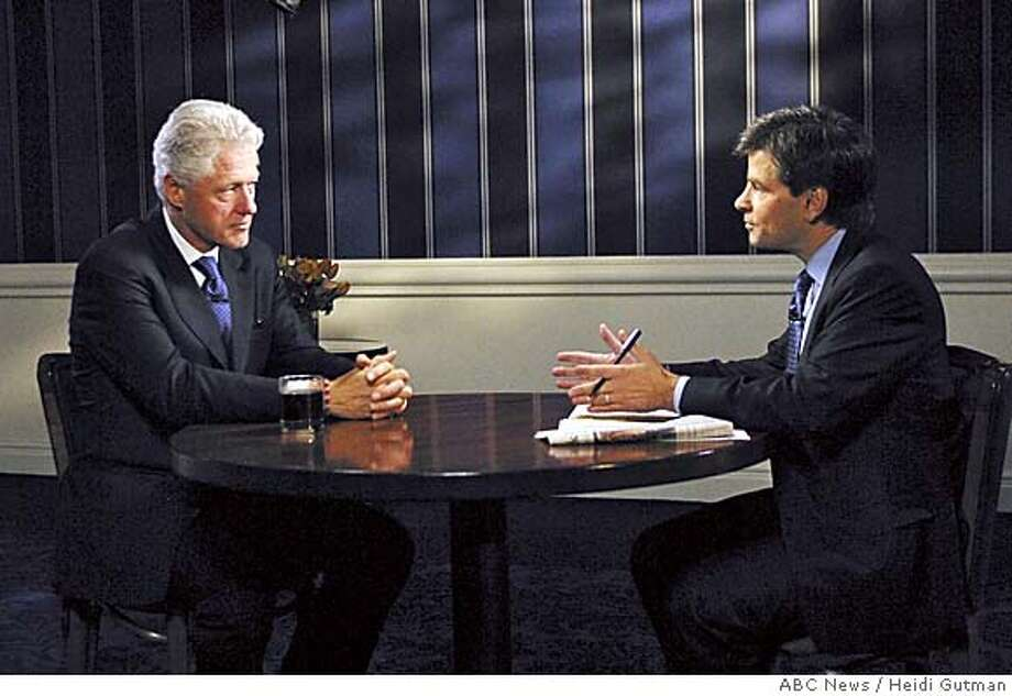"(NYT16) NEW YORK -- Sept. 18, 2005 -- CLINTON--Former President Bill Clinton, left, is interviewed by host George Stephanopoulos on the ABC News program ""This Week"" in New York on Saturday, Sept. 17, 2005. Clinton, asked by President Bush to help raise money for the victims of Hurricane Katrina, offered harsh public criticism of the Bush administration�s disaster-relief effort, saying ""you can�t have an emergency plan that works if it only affects middle class people up."" The program aired Sunday, Sept. 18. (Heidi Gutman/ABC News via The New York Times) XNYZ Photo: HEIDI GUTMAN/ABC NEWS"