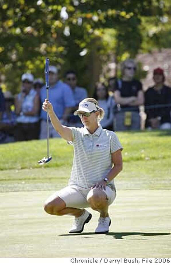 lpga_0104_db.JPG  Karrie Webb measures the putting green in the second round of the LPGA's Longs Drugs Challenge at Blackhawk Country Club in Danville, CA on Friday, September 22, 2006. 9/22/06  Darryl Bush / The Chronicle ** roster (cq) MANDATORY CREDIT FOR PHOTOG AND SF CHRONICLE/NO SALES-MAGS OUT Photo: Darryl Bush