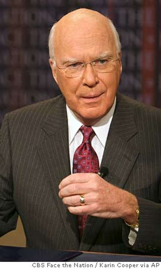 "Sen. Patrick Leahy, D-Vt., gestures on the set of CBS' ""Face the Nation"" Sunday, Sept. 18, 2005, in Washington. President Bush will meet with Leahy and other top members of the Senate Judiciary Committee on Wednesday, Sept. 21, to talk about the next Supreme Court nominee. Leahy said he expects to hear specific names from the president at the White House breakfast meeting. (AP Photo/CBS Face the Nation, Karin Cooper) ** MANDATORY CREDIT NO ARCHIVES ** MANDATORY CREDIT: FACE THE NATION, KARIN COOPER NO ARCHIVES Photo: KARIN COOPER"
