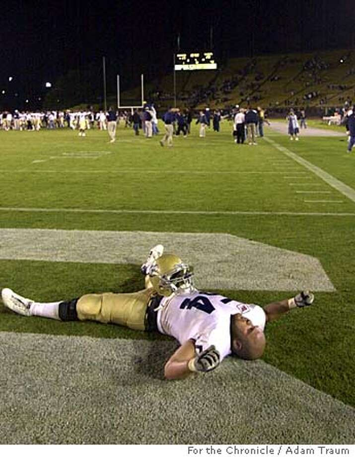 UC Davis' Joshua Holloway enjoys the team's win at Stanford.  Photo by Adam Traum/The Chronicle Photo taken on 9/18/05, in San Francisco Photo: Adam Traum