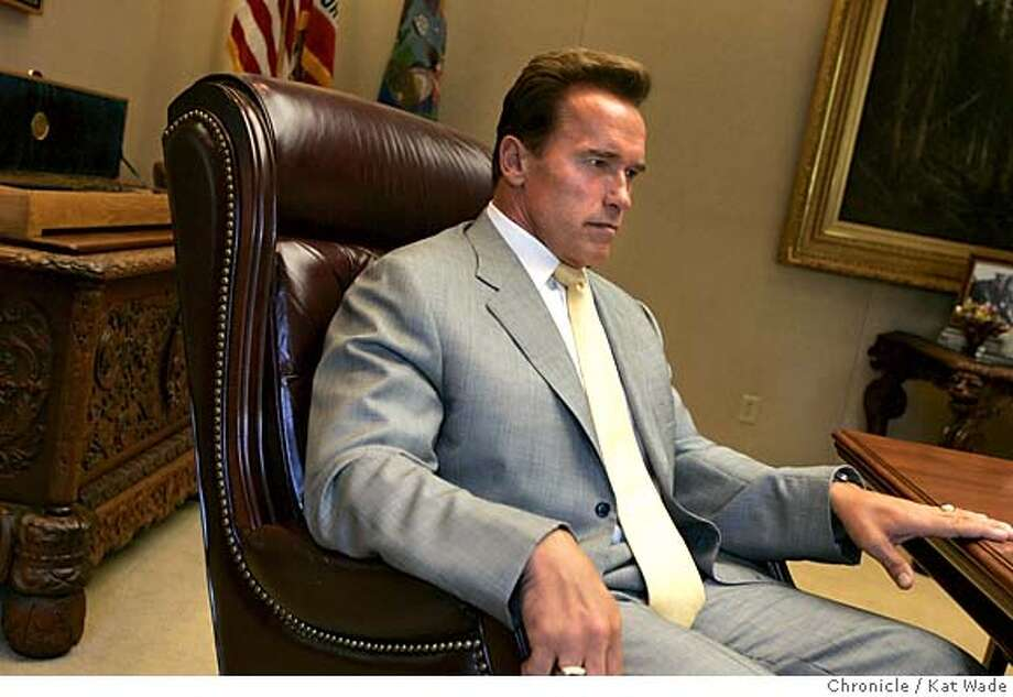 GOVERNOR21_009_KW.jpg  On 9/20/05 in Sacramento Governor Arnold Schwarzenegger gives the Chronicle reporter Carla Marinucci a private interview in his office Tuesday afternoon.  Kat Wade/ The Chronicle MANDATORY CREDIT FOR PHOTOG AND SF CHRONICLE/ -MAGS OUT Photo: Kat Wade