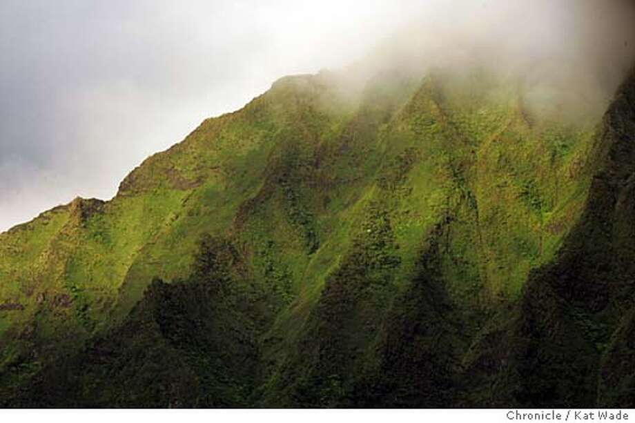 "On 7/3/05 in Oahu Shrouded in mist are the rugged, lush mountains that surround the Kaneohe Valley on O'ahu, one of the locations where the new television series ""Lost"" is filmed.  Kat Wade/ The Chronicle Photo: Kat Wade"