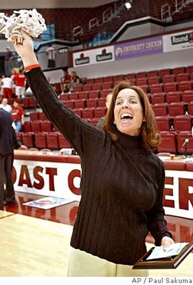 Santa Clara head coach Michelle Bento-Jackson waves the net after it was cut down, after Santa Clara upset Gonzaga 77-66 in the finals of the West Coast Conference Championship, Sunday, March 6, 2005 in Santa Clara, Calif. (AP Photo/Paul Sakuma) Ran on: 03-14-2005  A tourney invite is a net gain for Santa Clara coach Michelle Bento-Jackson, who respects Stanford. Ran on: 03-14-2005  A tourney invite is a net gain for Santa Clara coach Michelle Bento-Jackson, who respects Stanford. Ran on: 07-21-2005  Michelle Bento-Jackson has been coach of the Santa Clara women's basketball team for three years. Ran on: 07-21-2005  Michelle Bento-Jackson has been coach of the Santa Clara women's basketball team for three years. Photo: PAUL SAKUMA