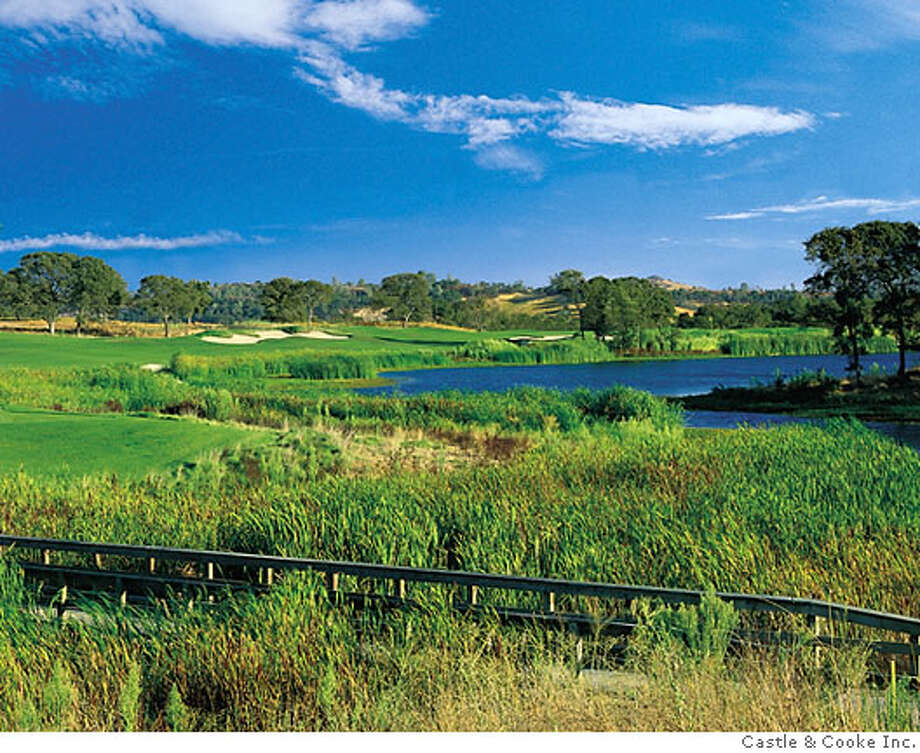 The par-4 second hole at Saddle Creek. The green is one of the more scary ones on the course. Castle and Cooke Inc. photo