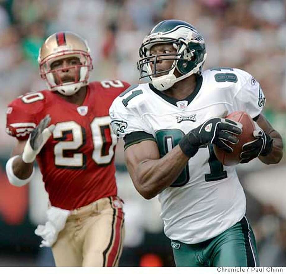 Terrell Owens burned Mike Adams and the 49ers with a 68-yard touchdown play on Philadelphia's first posession of the game. First quarter of the San Francisco 49ers vs. Philadelphia Eagles at Lincoln Financial Field on 9/18/05 in Philadelphia, Pa. The Eagles beat the 49ers 42-3.  PAUL CHINN/The Chronicle Photo: PAUL CHINN