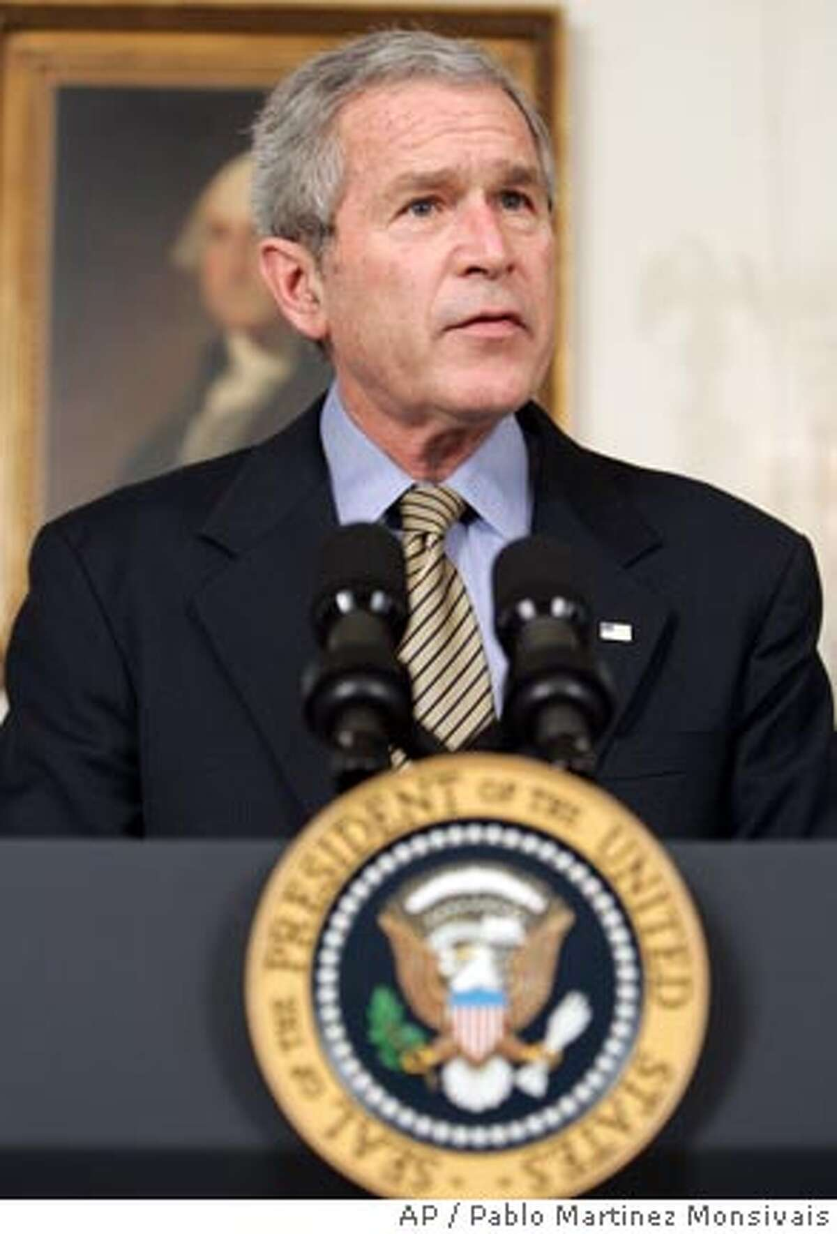 President Bush speaks in the Diplomatic Room of the White House in Washington, Friday, March 23, 2007, on the Iraq War Emergency Supplemental. (AP Photo/Pablo Martinez Monsivais)