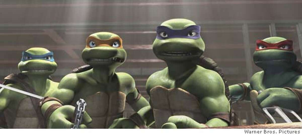 """TMNT Image 2 TMNTD-00029: Leonardo, Michelangelo, Donatello and Raphael in Warner Bros. Pictures and The Weinstein Companys TMNT, distributed by Warner Bros. Pictures. Photo courtesy of Imagi Production Limited / Warner Bros. Pictures TMNT , Teenage Mutant Ninja Turtles , Donatello , Leonardo , Michelangelo , Raphael , Shredder , Splinter , April O'Neil and related characters, logos, names and distinctive likenesses thereof are trademarks of, and copyrighted by, Mirage Studios, Inc., unless otherwise noted. All Rights Reserved. Leonardo, Michelangelo, Donatello and Raphael in Warner Bros. Pictures' and The Weinstein Company's """"TMNT,"""" distributed by Warner Bros. Pictures. PHOTOGRAPHS TO BE USED SOLELY FOR ADVERTISING, PROMOTION, PUBLICITY OR REVIEWS OF THIS SPECIFIC MOTION PICTURE AND TO REMAIN THE PROPERTY OF THE STUDIO. NOT FOR SALE OR REDISTRIBUTION Leonardo, Michelangelo, Donatello and Raphael in Warner Bros. Picturesՠand The Weinstein Companyճ ҔMNT,Ӡdistributed by Warner Bros. Pictures. PHOTOGRAPHS TO BE USED SOLELY FOR ADVERTISING, PROMOTION, PUBLICITY OR REVIEWS OF THIS SPECIFIC MOTION PICTURE AND TO REMAIN THE PROPERTY OF THE STUDIO. NOT FOR SALE OR REDISTRIBUTION Leonardo, Michelangelo, Donatello and Raphael in Warner Bros. Pictures' and The Weinstein Company's """"TMNT,"""" distributed by Warner Bros. Pictures. PHOTOGRAPHS TO BE USED SOLELY FOR ADVERTISING, PROMOTION, PUBLICITY OR REVIEWS OF THIS SPECIFIC MOTION PICTURE AND TO REMAIN THE PROPERTY OF THE STUDIO. NOT FOR SALE OR REDISTRIBUTION"""