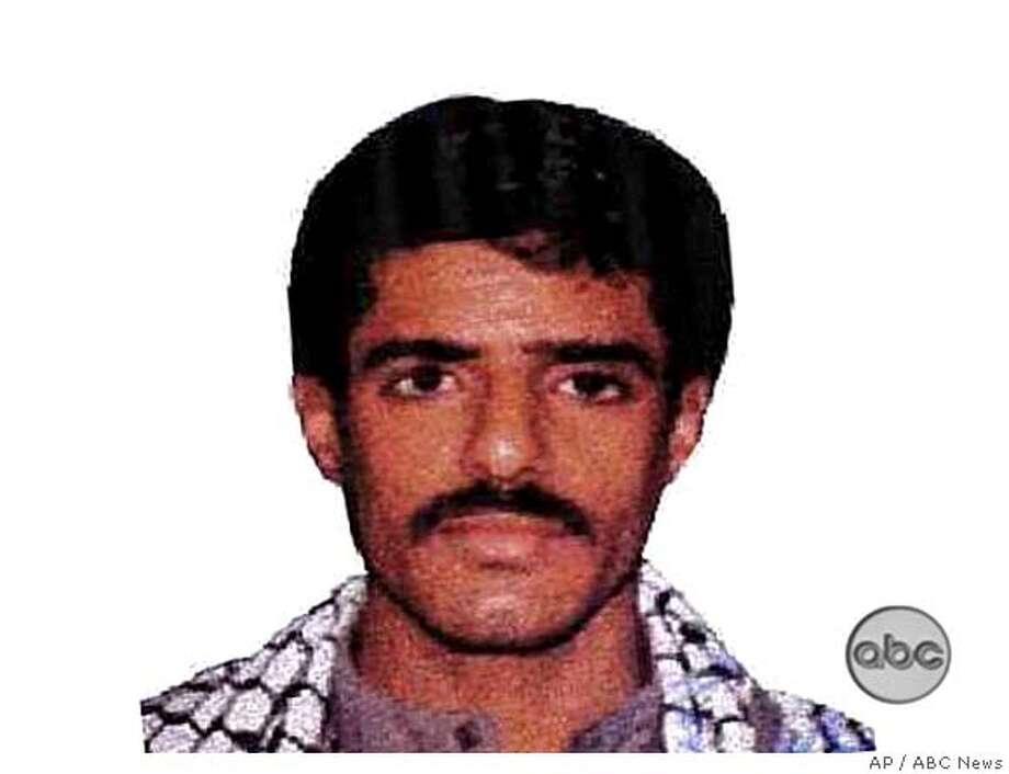 **FILE**This undated file photo provided by ABC News shows Waleed bin Attash. Bin Attash, a Yemeni portrayed as an al-Qaida operative and a member of a terrorist family, confessed to plotting the bombings of the USS Cole and two U.S. embassies in Africa, killing hundreds, according to a Pentagon transcript of a Guantanamo Bay hearing, released Monday March 19, 2007. Said to be an al-Qaida operational chief, bin Attash is known as Tawfiq bin Attash or Tawfiq Attash Khallada or simply Khallad. He was captured in 2003. (AP Photo/ABC News) TV OUT, NO SALES, ABC NEWS PHOTO Photo: ABC News