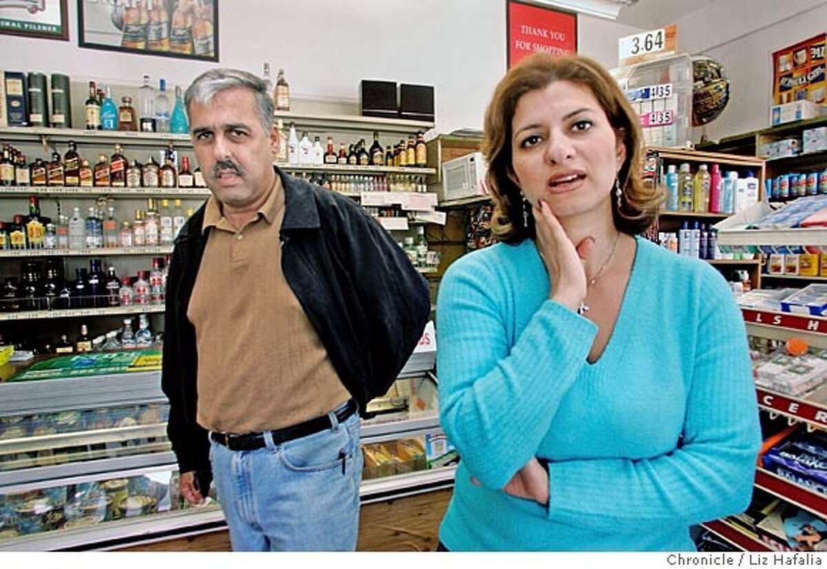 {file name} Reliable Grocery, a corner store in Bernal Heights, has been there for 15 years and the owners, Irma and Joe Massis are now having to move two blocks down because of high rent. Some neighbors are fighting their new liquor license and the owners, who are active in the neighborhood, are upset to be turned against. Photographed by Liz Hafalia on 9/12/05 in San Francisco, California. SFC