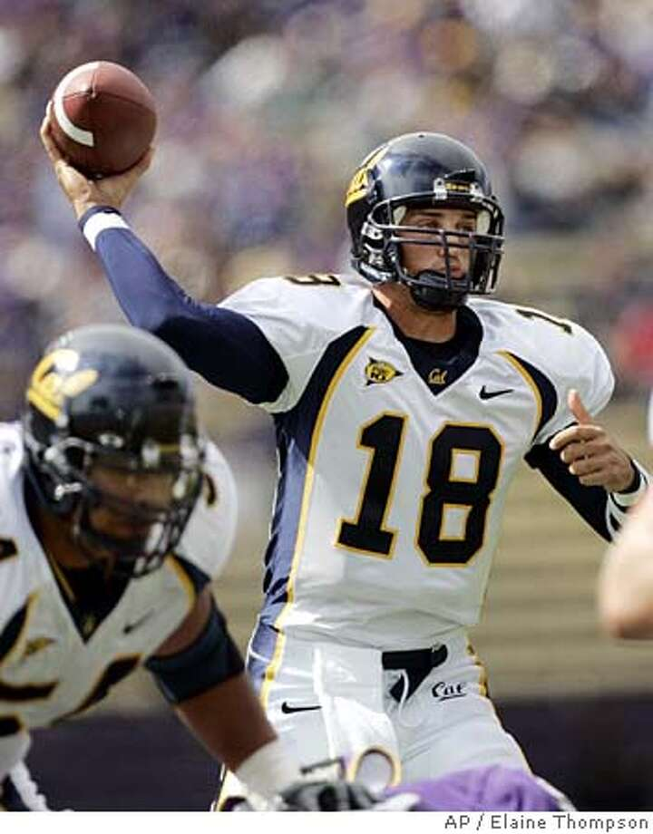 California quarterback Joe Ayoob throws against Washington in the first half Saturday, Sept. 10, 2005, in Seattle. Ayoob led California, throwing for 271 yards and four touchdowns in their 56-17 victory. (AP Photo/Elaine Thompson) Ran on: 09-11-2005 Ran on: 09-11-2005 Ran on: 09-11-2005 Ran on: 09-11-2005 Photo: ELAINE THOMPSON