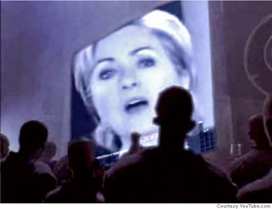 "Frame grab from YouTube.com showing the ""Hillary 1984"" video, which transforms an old Apple TV commercial into an ad touting Barack Obama's presidential campaign. COURTESY YOUTUBE Photo: COURTESY YOUTUBE"