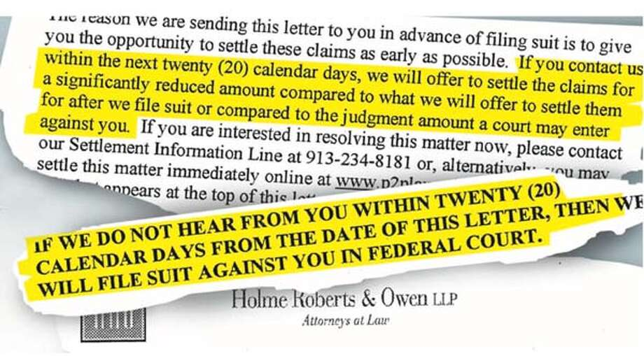 The letter sent to college students includes the threat of a federal lawsuit.