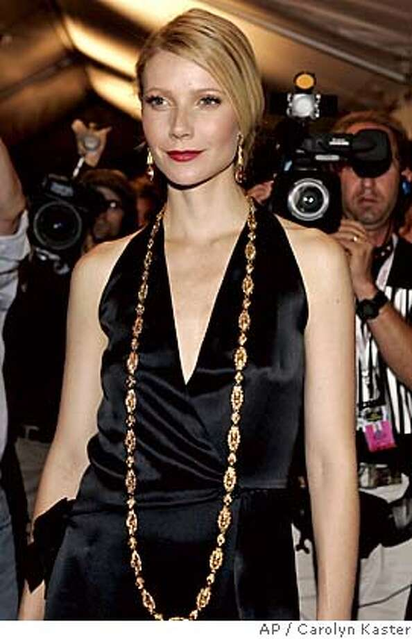 """** CORRECT SPELLING OF GWYNETH FROM GWENETH **Gwyneth Paltrow arrives for the screening of """"Proof"""" in Toronto, Monday, Sept. 12, 2005. (AP Photo/Carolyn Kaster) ** CORRECT SPELLING OF GWYNETH FROM GWENETH ** Photo: CAROLYN KASTER"""
