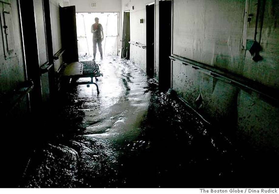 (NYT81) VIOLET, La. -- Sept. 14, 2005 -- KATRINA-RDP-6 -- Mud covers the floor of a hallway at St. Rita's Nursing Home in Violet, just east of New Orleans, La., on Wednesday, Sept. 14, 2005. The owners of the nursing home, where 34 people died in the floodwaters, were charged Tuesday with multiple counts of negligent homicide. (Dina Rudick/The Boston Globe) XNYZ Photo: DINA Rudick