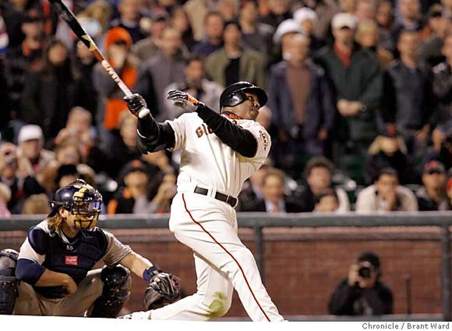 At his first at bat Barry hammers a ground rule double.  Barry Bonds returned to action Monday night against the division-leading San Diego Padres. Brant Ward 9/12/05 Photo: Brant Ward