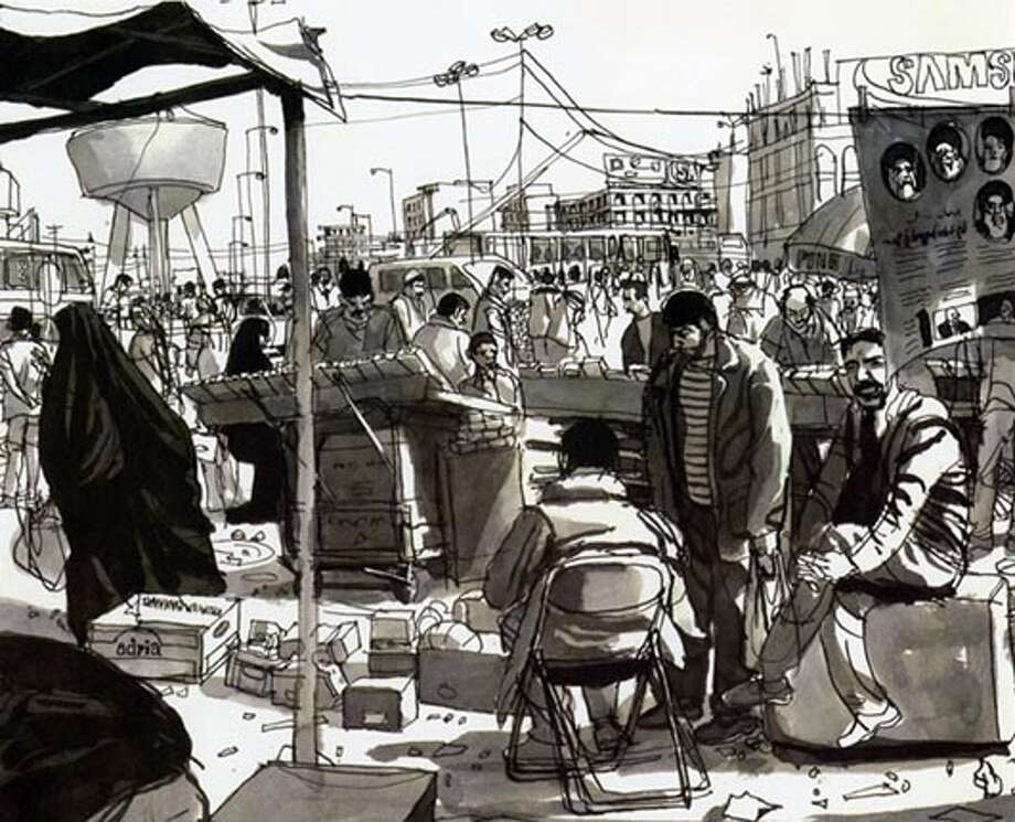 """Cigarette sellers, of Bab Sherji marketplace, Baghdad."" Photo from ""Baghdad Journal"""
