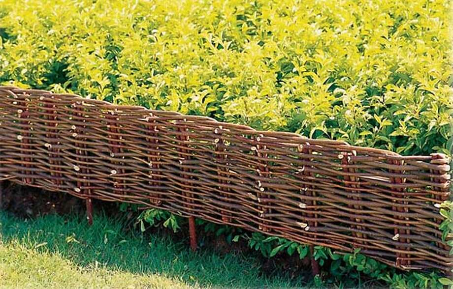 A Benicia company, the Lucky Clover Trading Co., imports a line of arbors, gazebos, trellises, fences and decorative edging pieces known as the Willow Garden Collection. You can create a rustic basket look with the woven edging ($16 for a 3-foot length).