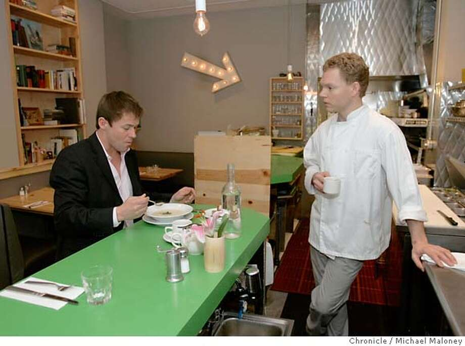 Karl Hasz, president of Hasz Construction, lunches at one of his favorite hangouts, Canteen on Sutter Street in San Francisco. At right is his friend and owner of Canteen, Dennis Leary.  Photo taken on 2/1/07 by Michael Maloney / San Francisco Chronicle MANDATORY CREDIT FOR PHOTOG AND SF CHRONICLE/NO SALES-MAGS OUT Photo: Michael Maloney