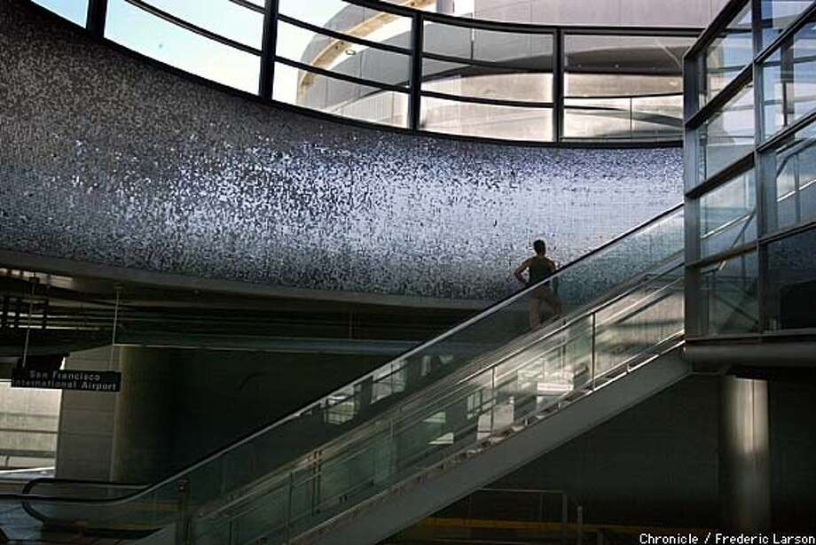 """Wind Portal,"" at the SFO BART station, will reflect the movement of passing trains. Chronicle photo by Frederic Larson"