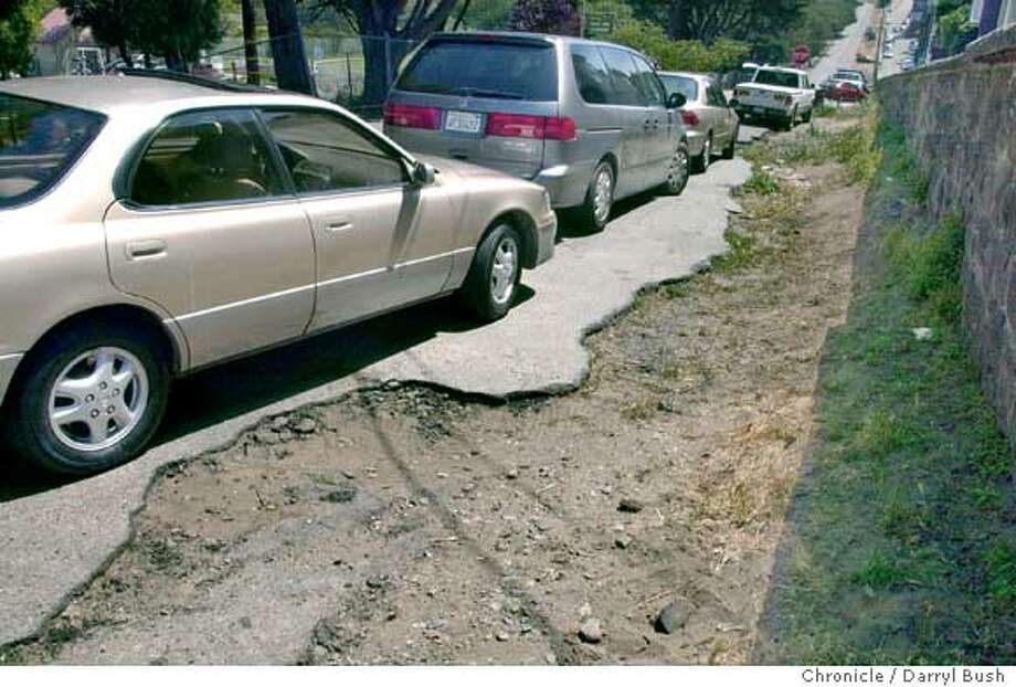 Chronwatch: badly rutted road shoulder on West Pacific Ave. across from Julius Kahn Playground in the Presidio. 6/18/03 in San Francisco.  DARRYL BUSH / The Chronicle Photo: DARRYL BUSH