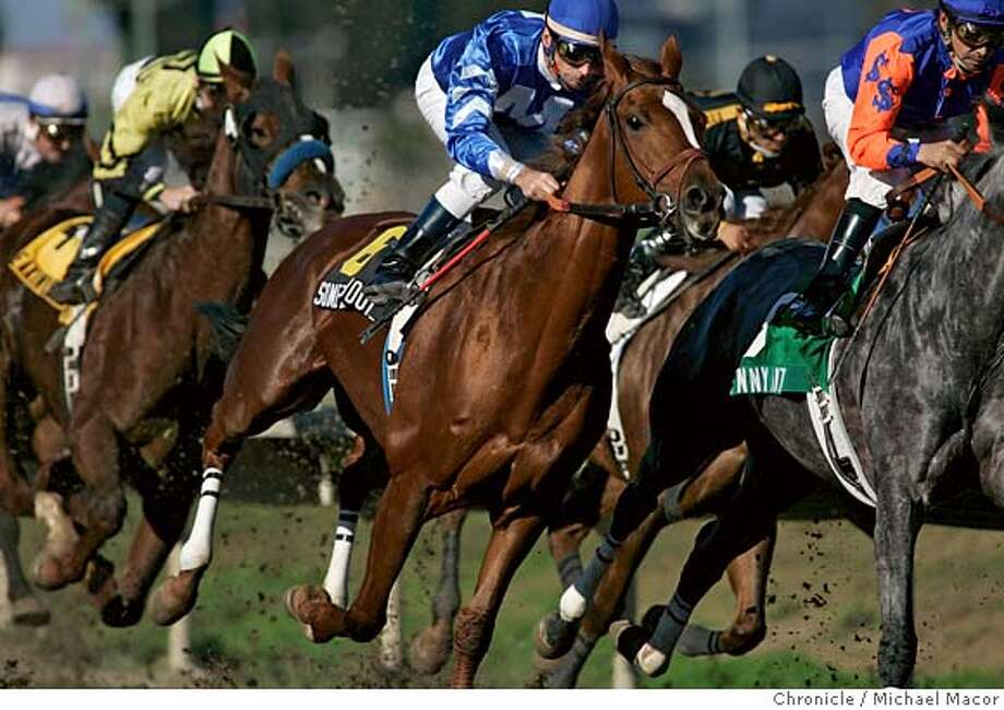 """baze_123_mac.jpg . Baze, center aboard SOMETHINGABOUTLAURA"""" takes the first turn in the, 1 1/16 mile 3rd race at Bay Meadows, The """"Autumn Leaves Handicap"""", he went on to win the race. Jockey Russell Baze, racing at Bay Meadows, will become the all-time winningest jockey in U.S. history in the next couple weeks. Event in, San Mateo, Ca, on 11/18/06. Photo by: Michael Macor/ San Francisco Chronicle Ran on: 11-24-2006  Russell Baze inched closer to Laffit Pincay Jr.'s all-time winning record with a victory on Thanksgiving at Bay Meadows.  Ran on: 11-24-2006  Russell Baze inched closer to Laffit Pincay Jr.'s all-time winning record with a victory on Thanksgiving at Bay Meadows.  Ran on: 11-24-2006  Russell Baze inched closer to Laffit Pincay Jr.'s all-time winning record with a victory on Thanksgiving at Bay Meadows. Mandatory credit for Photographer and San Francisco Chronicle No sales/ Magazines Out Photo: Michael Macor"""