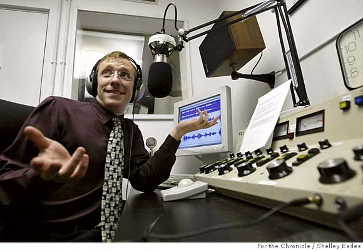 RADIO096se.JPG On 8/31/05 in Sausalito. Radio Sausalito Founder and President Jonathan Westerling looks inquisitively at his station volunteers in the studio for input as he plays them something over the sound system that he recorded for the station earlier in the day. Chronicle Photo by Shelley Eades