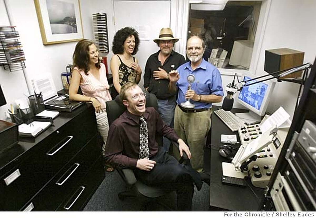 RADIO064se.JPG On 8/31/05 in Sausalito. Radio Sausalito, a low powered radio station in Sausalito is run by Founder and President Jonathan Westerling, sitting in front, and with the help of some local station volunteers like (back row, left to right) Sharon Berman, Lauralee Brown, Bob Greenberg and Phil Sheridan. Chronicle Photo by Shelley Eades