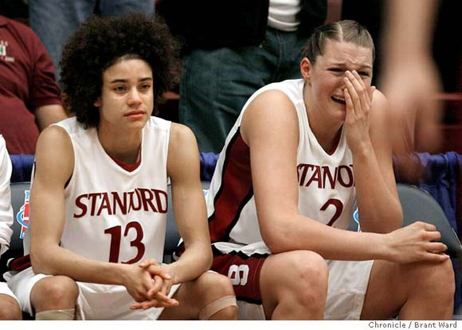 stanford074.JPG  Stanford players Cissy Pierce, 13, and Jayne Appel, 2, watch the final seconds of their season end.  Stanford University was beaten by Florida State in the second round of the NCAA tournament held at Maples Pavilion Monday night. {Brant Ward/San Francisco Chronicle}3/19/07 Ran on: 03-21-2007  Stanford's Cissy Pierce (left) and Jayne Appel watch the closing seconds of the Cardinal's seven-point loss to Florida State.  Ran on: 03-21-2007  Stanford's Cissy Pierce (left) and Jayne Appel watch the closing seconds of the Cardinal's seven-point loss to Florida State. Photo: Brant Ward