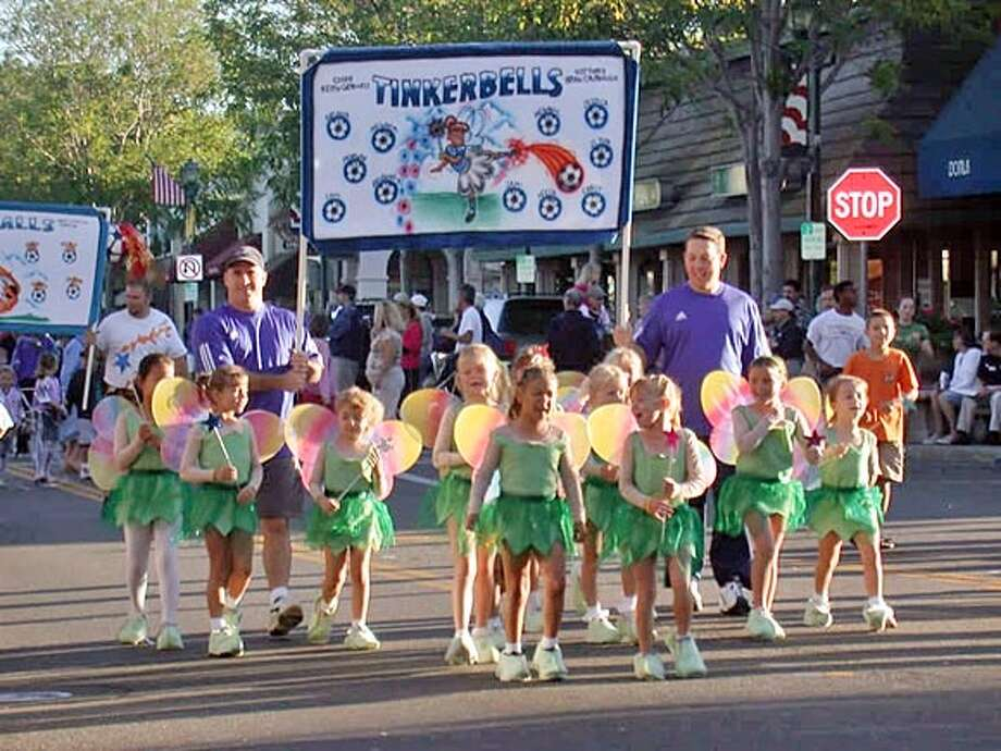 The Tinkerbells participate in the Pleasanton Rage soccer parade on Sept. 10, 2005. Photo: HO