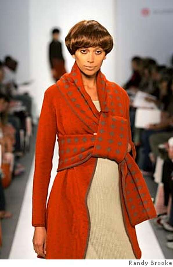 Red jacquard jacket by Emily Ginn, Academy of Art student.  photo by Randy Brooke Photo: Randy Brooke