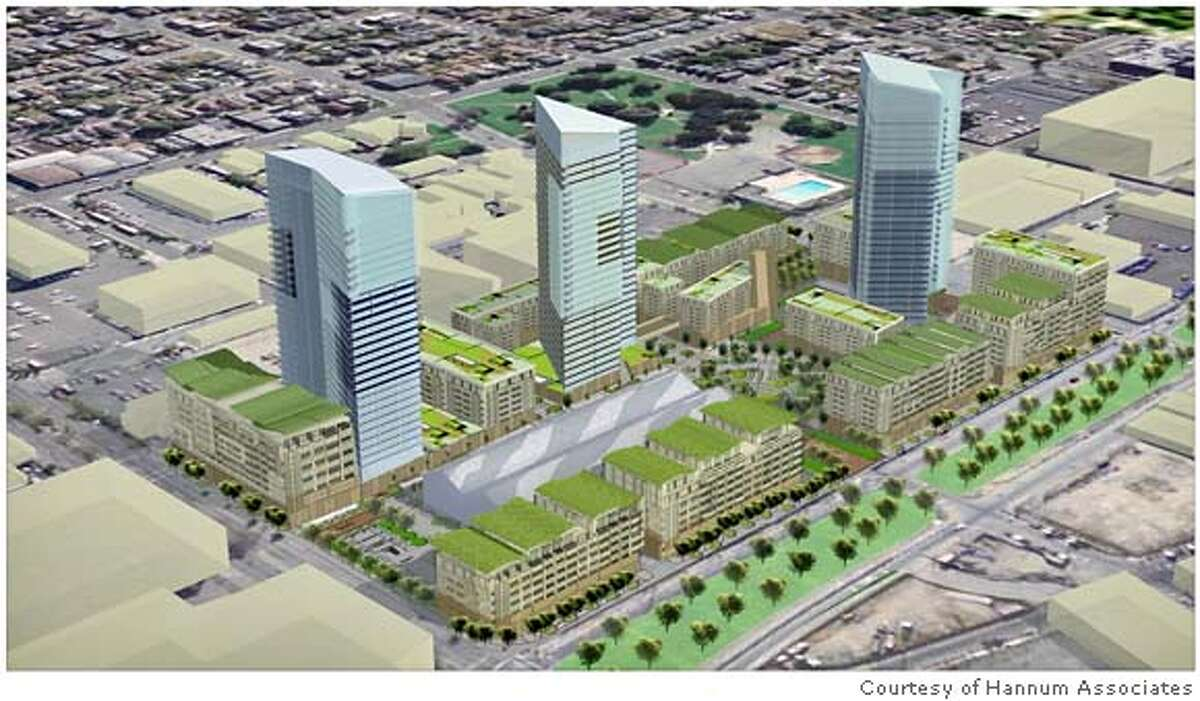 Artist rendering of proposed Mandela Grand Development in West Oakland. This is a mixed residential, retail and light industry development proposed for Mandela Parkway and West Grand Avenue. Credit: Courtesy of Hannum Associates