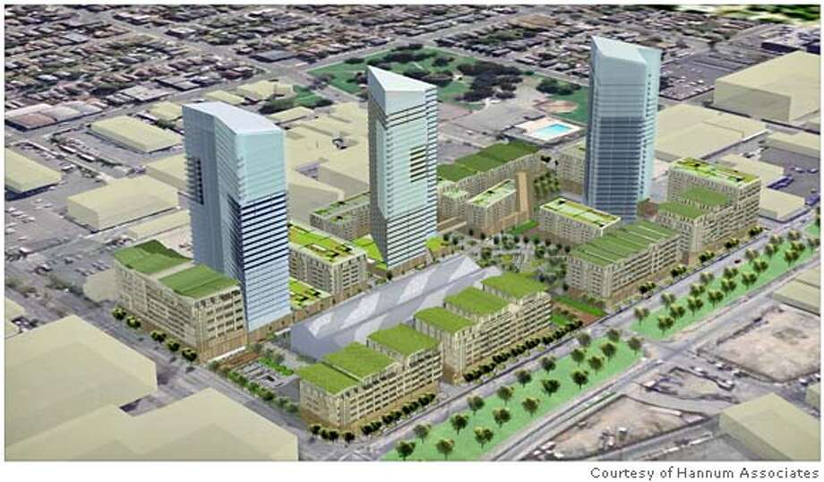 Artist rendering of proposed Mandela Grand Development in West Oakland. This is a mixed residential, retail and light industry development proposed for Mandela Parkway and West Grand Avenue. Credit: Courtesy of Hannum Associates Photo: Courtesy Of Hannum Associates