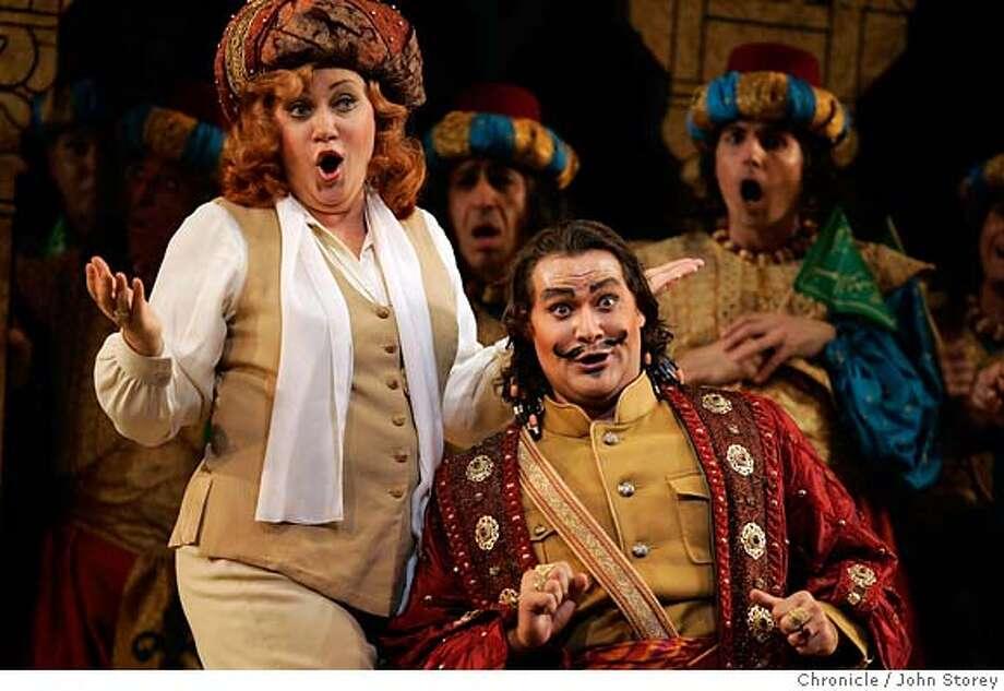 ".jpg  Olga Borordina as ""Isabella"" and Ildar Abdrazakov as ""Mustafa"". The opera ""The Italian Girl in Algiers"" at the War Memorial Opera House.  John Storey San Francisco Event on 9/6/05  - MANDATORY CREDIT FOR PHOTOG AND SF CHRONICLE/ -MAGS OUT Photo: John Storey"