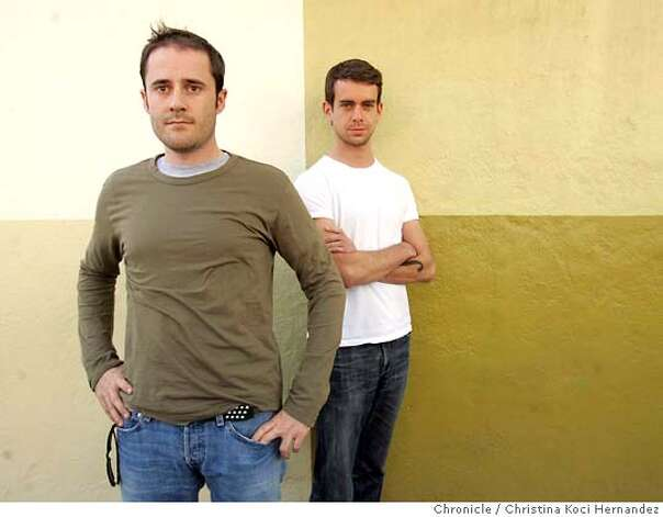 "Photo of (L)Evan Williams and (R)Jack Dorsey, outside their South Park office, in SF, at Obvious Corp..(L)Evan Williams and (R)Jack Dorsey in San Francisco are the creators of ""Twitter,"" a way to broadcast text messages to numerous cell phones. ..(Christina Koci Hernandez/The Chronicle) Ran on: 03-19-2007  Evan Williams (left), founder of Obvious, and Jack Dorsey, who came up with Twitter, stand outside their office in San Francisco's South Park neighborhood. Photo: Christina Koci Hernandez/CHRONIC"