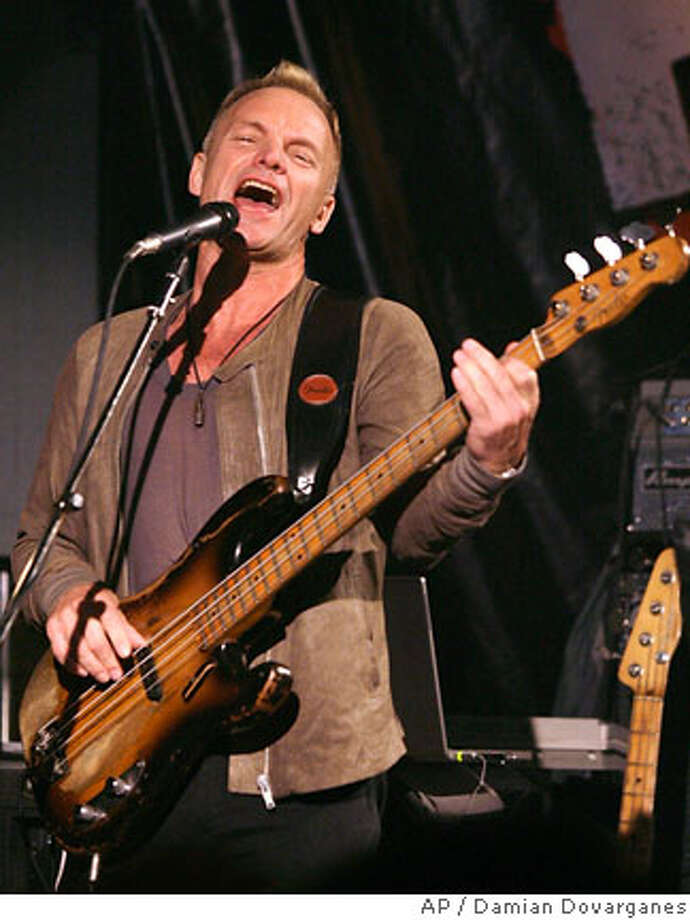 Sting performs with The Police at the Whisky a Go-Go Club in Los Angeles Monday, Feb. 12, 2007. The Police announced their first tour in decades Monday at a rehearsal as a throng of fans crowded near the legendary Sunset Strip nightclub. (AP Photo/Damian Dovarganes)  Ran on: 02-16-2007  Sting rehearses with the Police at a news conference at the Whiskey a Go-Go in West Hollywood announcing their tour. Photo: Damian Dovarganes