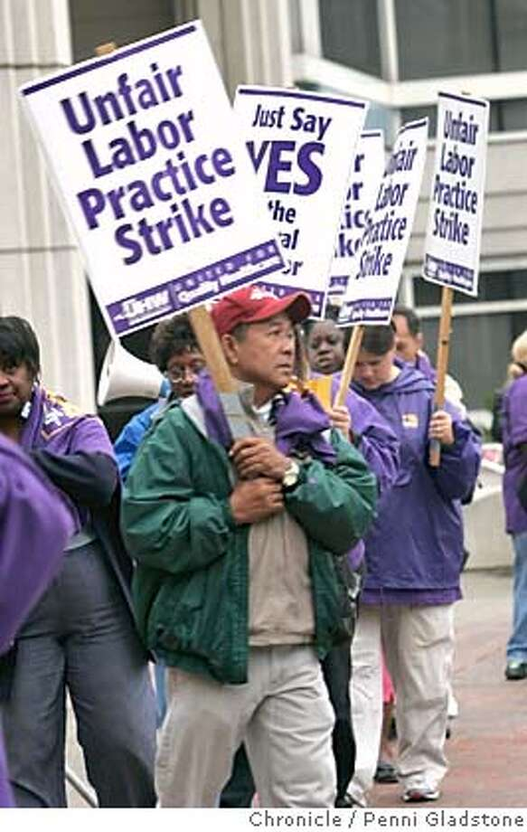 STRIKE14_0083_PG.JPG NO ident on this striker.  California Pacific Medical Center The union (SEIU) representing thousand of health care workers expected to go on strike today at eight Northern California hospitals decided Monday to narrow the scope of the walk out to just one hospital - California Pacific Medical Center in San Francisco. They're mad at the CEO - they say he agreed to a federal mediator's proposal but then backed down. They hope of they can get California Pacific to agree to the terms, other hospitals will follow suite. San Francisco Chronicle, Penni Gladstone  Photo taken on 9/13/05, in San Francisco, Photo: Penni Gladstone