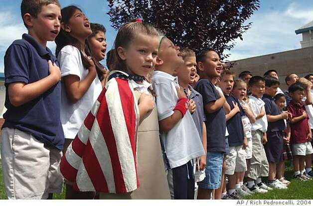 """an analysis of the pledge of allegiance and the phrase of one nation under god in public schools How long have we really been 'one nation under god'  phrase """"under god"""" to the pledge of allegiance in 1954 the official adoption of the motto """"in god we trust"""" on all american ."""