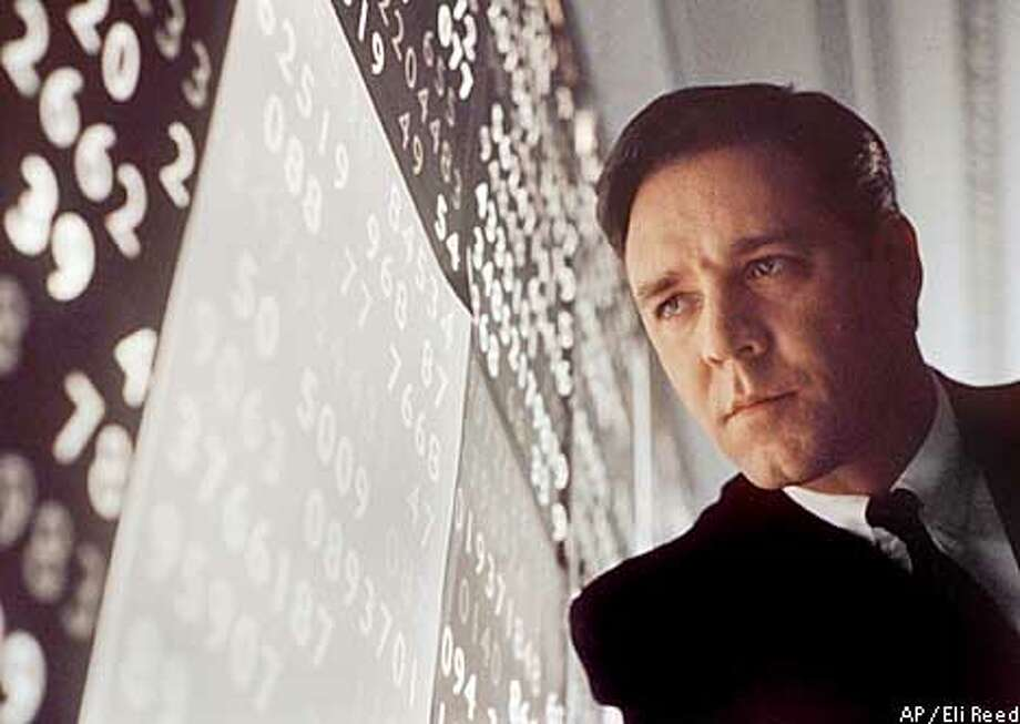 """ADVANCE FOR WEEKEND EDITIONS, MARCH 14-17--FILE--Actor Russell Crowe stars in """"A Beautiful Mind,"""" a film which received eight 2001 Oscar nominations including best picture, best director for Ron Howard and best actor for Crowe. (AP Photo/Eli Reed, Universal Studios) Photo: ELI REED"""