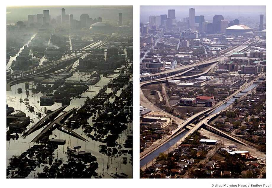 Two photos show the changes to New Orleans in the two weeks since Hurricane Katrina. At right is a view of damage from looking from the west towards downtown New Orleans, Tuesday morning, Aug. 30, 2005. At right, the same scene as flood waters recede on Sunday, Sept.11, 2005. (AP Photo/Dallas Morning News, Smiley Pool) MANDATORY CREDIT: , MAGS OUT, TV OUT, INTERNET: AP MEMBERS ONLY Photo: POOL, SMILEY