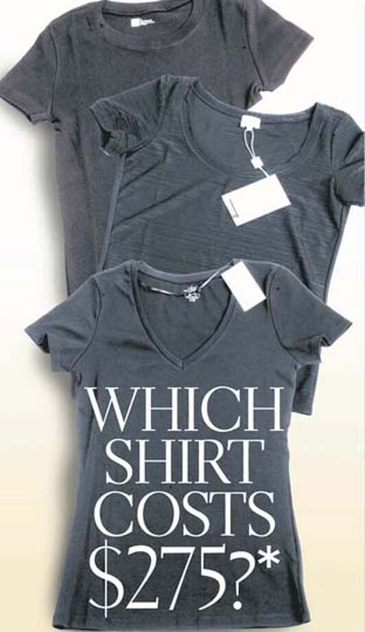 Gap's T-shirt is above and H&M's is below. In the center is the Armani T-shirt. Chronicle Graphic