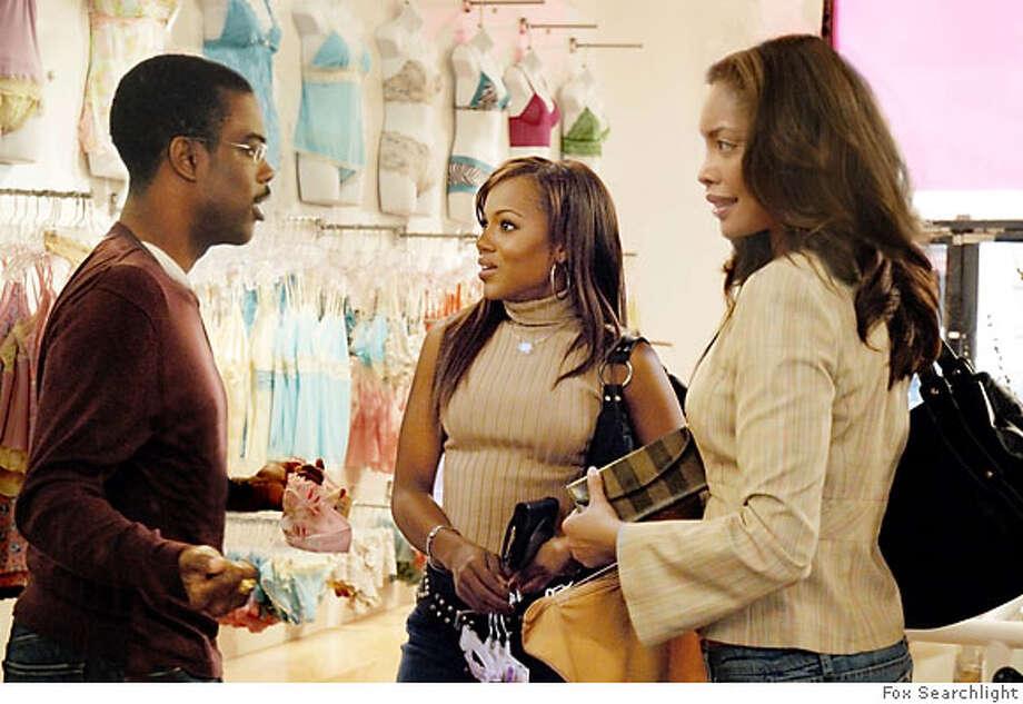 "Still from movie ""I Think I Love My Wife,"" with l-r Chris Rock, Kerry Washington, Gina Torres. Photo: Ho"