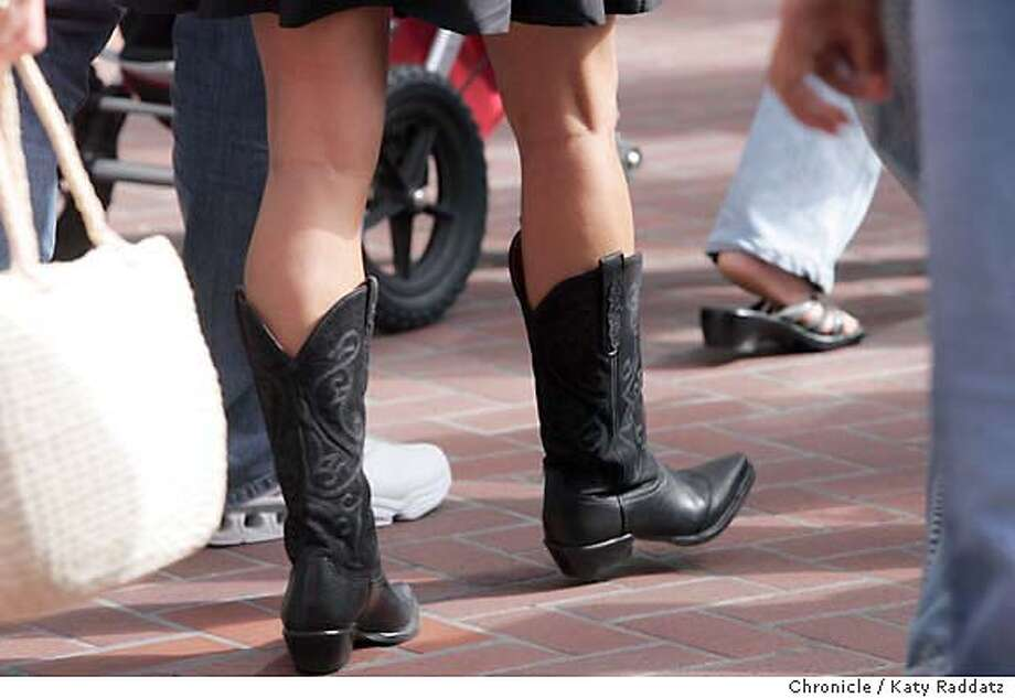 Boots, worn by real people on Market St. in San Francisco. Photo taken on 8/21/05, in San Francisco, CA.  By Katy Raddatz / The San Francisco Chronicle Photo: Katy Raddatz