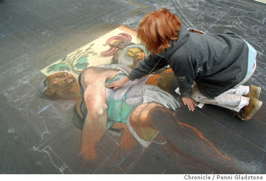 Michelangelo S Ceiling Meets The Sidewalk Sistine Masterwork Re Created In Chalk For Marin Festival