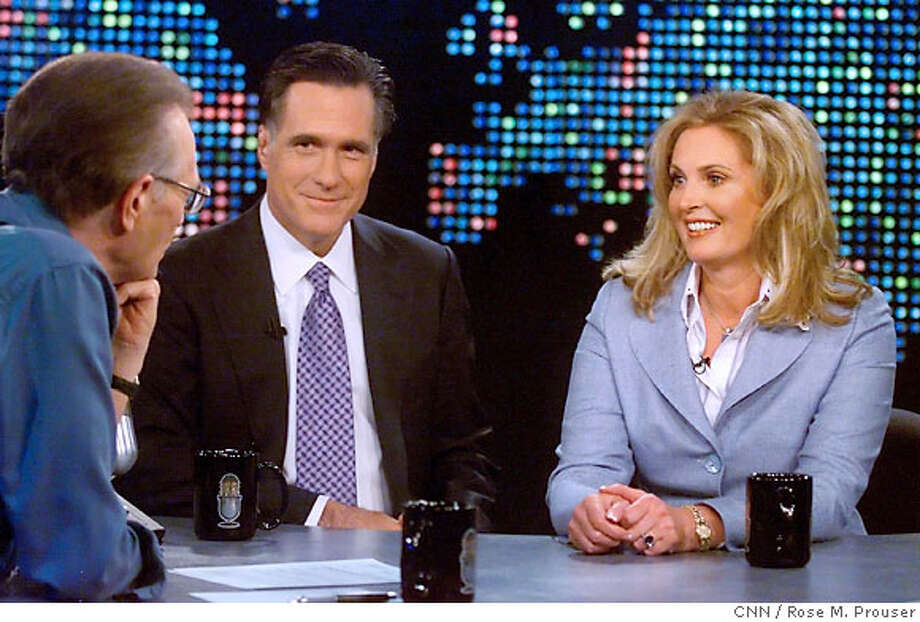 "Republican presidential candidate Mitt Romney (C) and his wife Ann (R) are interviewed by talk show host Larry King on ""Larry King Live"" at the CNN studios in Los Angeles, California, March 15, 2007. REUTERS/Rose M. Prouser/CNN/Handout (UNITED STATES). EDITORIAL USE ONLY. NOT FOR SALE FOR MARKETING OR ADVERTISING CAMPAIGNS. NO ARCHIVES. NO SALES. Photo: HO"