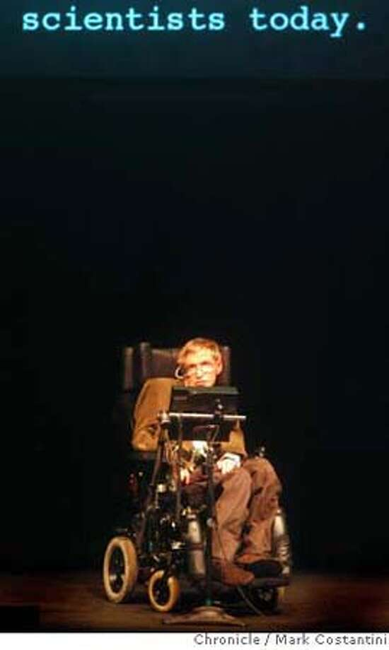 Physicist Stephen Hawking appears live in Berkeley. He addresses a sold-out crowd of 2k at Zellerbach Hall for the annual Oppenheimer Lecture in Physics. A second venue, Wheeler Hall, has sold out 700 seats for a simulcast. photo taken on 3/13/07 ( Mark Costantini / The Chronicle ) Stephen Hawking (cq) Photo: Mark Costantini