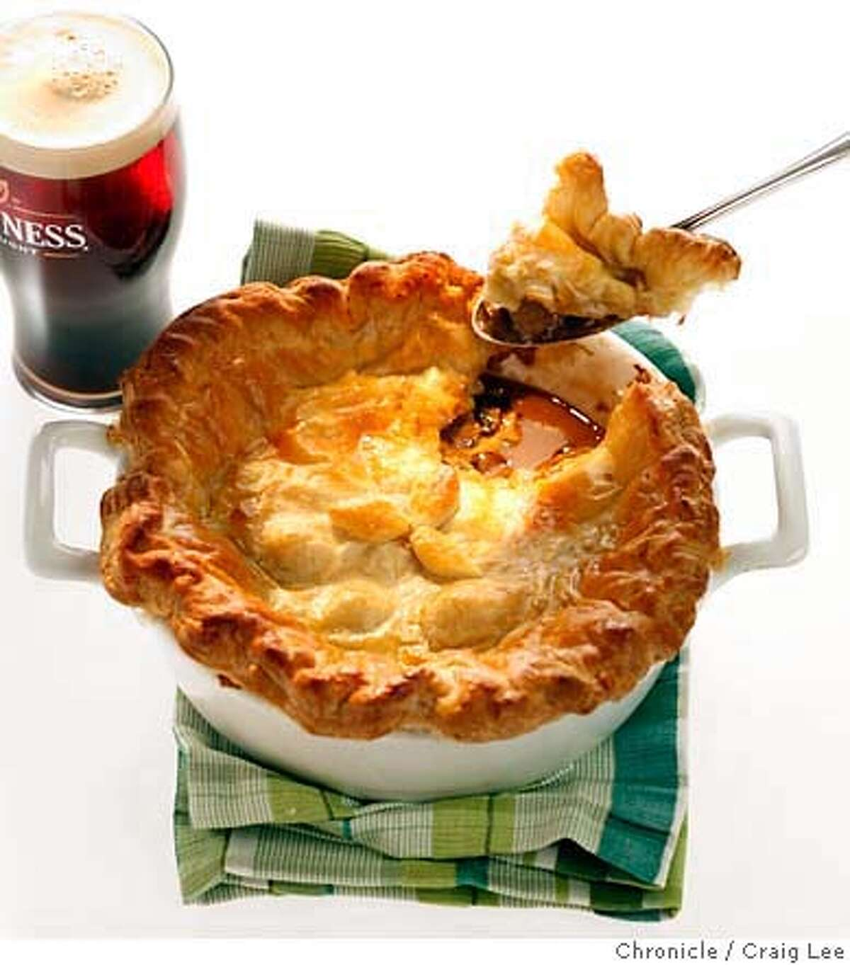 IRISH14_082_cl.JPG Photo of Steak and Oyster Pie for St. Patrick's Day food lede. Food styled by Amanda Gold. Event on 3/7/07 in San Francisco. photo by Craig Lee / The Chronicle MANDATORY CREDIT FOR PHOTOG AND SF CHRONICLE/NO SALES-MAGS OUT
