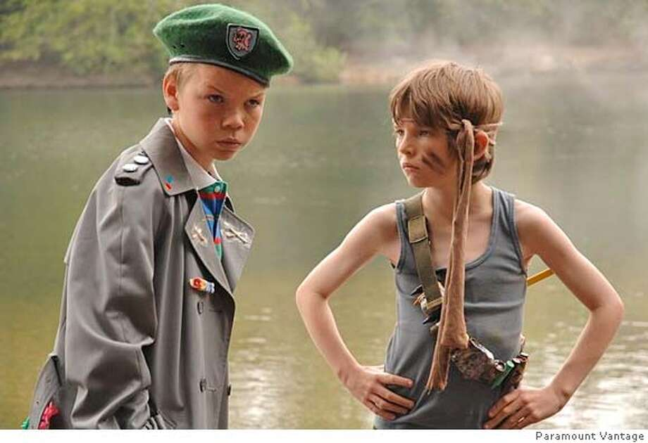 """Will Poulter as Carter and Bill Milner as Will in """"Son of Rambow,"""" 2007, about misfits inspired by """"Rambo"""" to make their own home movie. Photo: Paramount Vantage"""