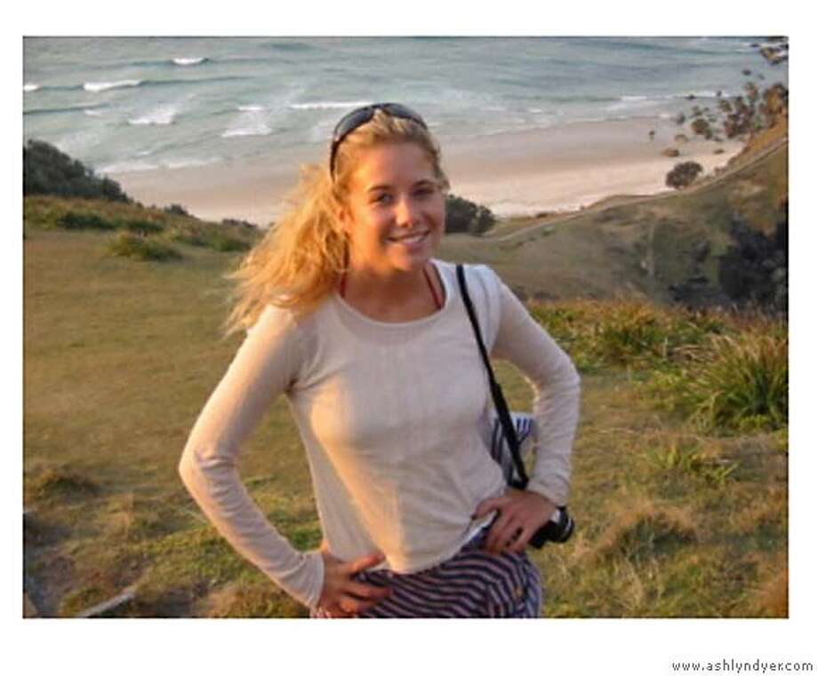 A photo of Ashlyn Dyer, 27, the jogger struck in a hit and run March 2 and who died yesterday, Sunday, March 12, 2006. Credit: Courtesy of http://www.ashlyndyer.comRan on: 03-16-2006  Ashlyn Dyer was injured fatally on March 2 at Washington Boulevard and Harrison Street.Ran on: 03-16-2006  Ashlyn Dyer was injured fatally on March 2 at Washington Boulevard and Harrison Street.  Ran on: 07-14-2006  Ashlyn Dyer, 27, was struck and killed while jogging in the Presidio on March 2. Her parents are frustrated with the pace of the U.S. Park Police probe. Photo: Courtesy Of Http://www.ashlyndye